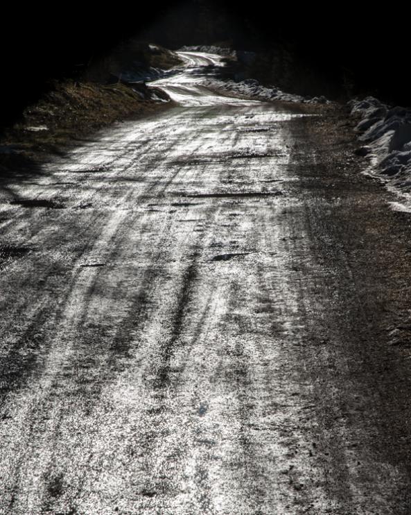 photographie, couleur, route mouillée