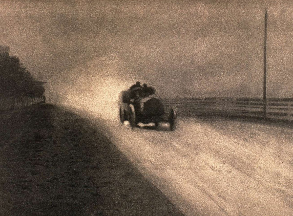 photographie, 1904, route, automobile